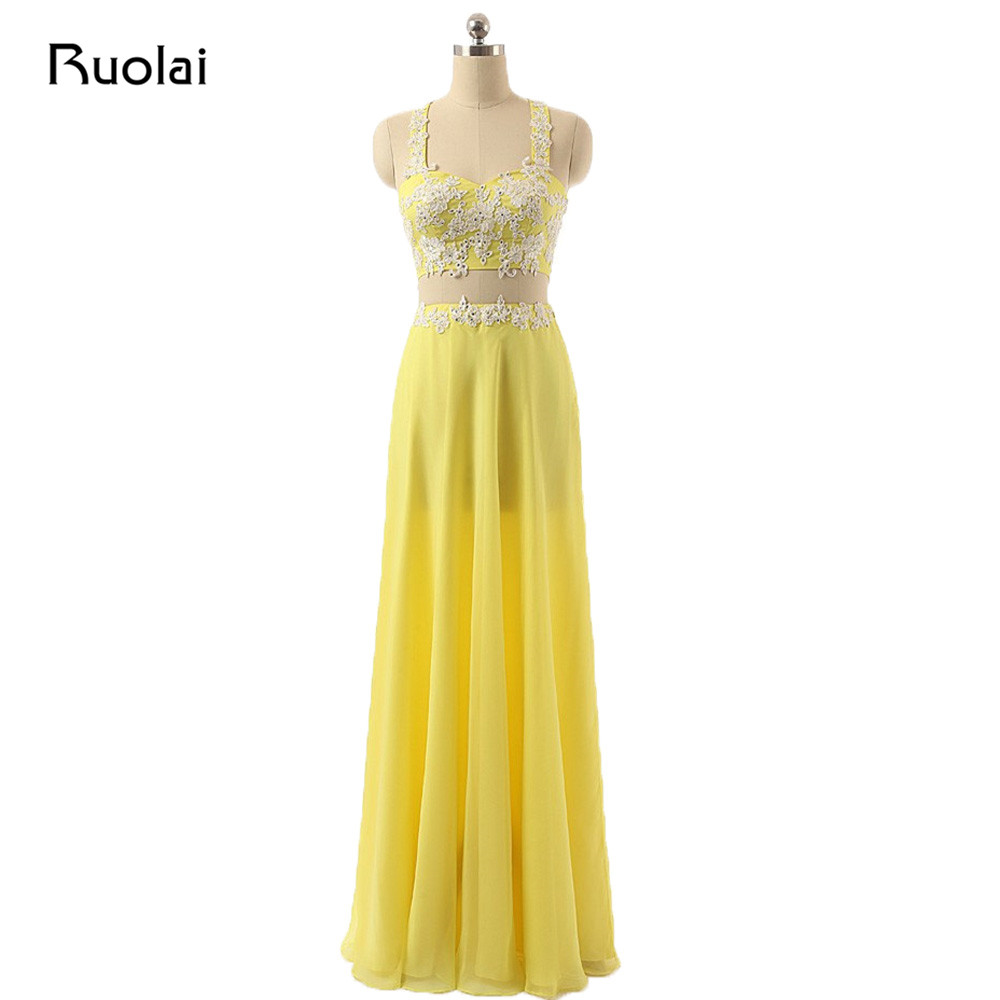 Custom Made Two Pieces   Bridesmaid     Dresses   Floor Length Applique Beaded Yellow Wedding Party   Dress   Maid of Honor   Dress   BM32