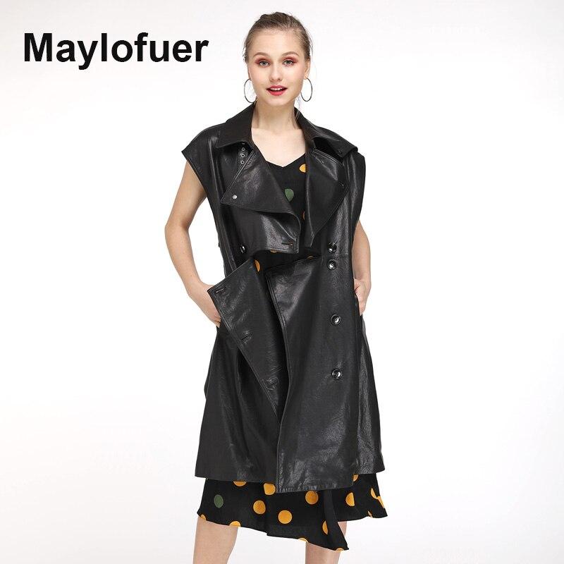 Ceinture Maylofuer Longue Gilet Avec Manteaux Noir Femmes Nouvelle Véritable Veste De En Mode Réel Cuir wC1xp