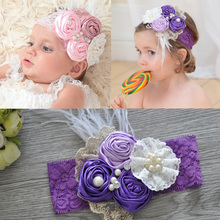 AHB Flower Pearls Lace Headband for Baby Girls Soft Floral Elastic Headdress Photography Props Newborn Birthday Party Headwear