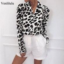 hot deal buy 2019 plus size chiffon blouse women sexy leopard blouses female chiffon shirts leopard long sleeve blouse lady v-neck oversize