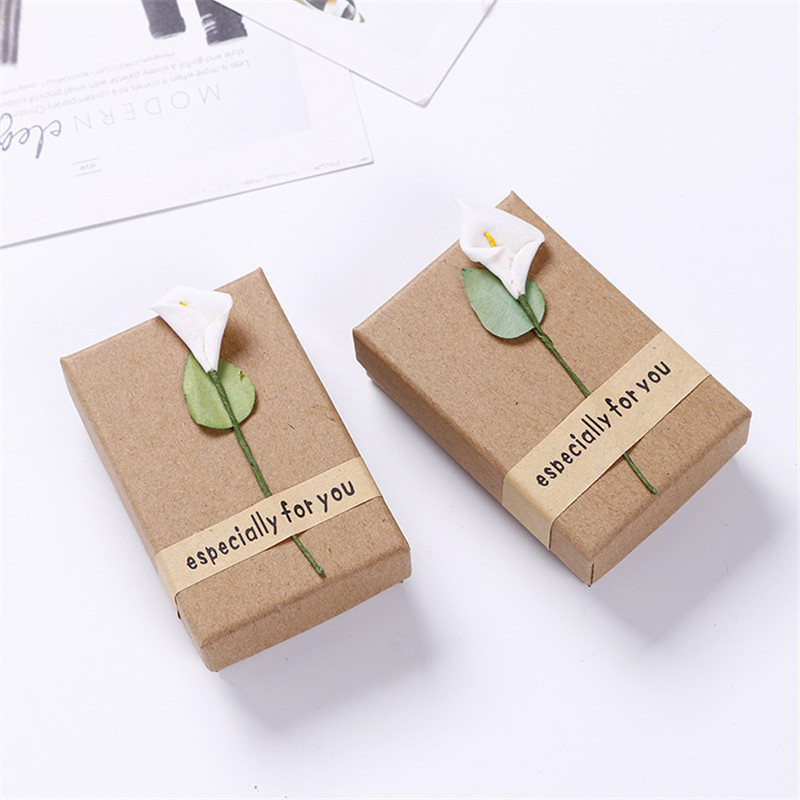 Gift Bags & Wrapping Supplies Home & Garden 2pcs Kraft Paper Jewelry Flowers Mini Boxes Earrings Bracelet Necklace Gift Boxs Birthday Party Giveaway Favor Boxes 5*3*2cm