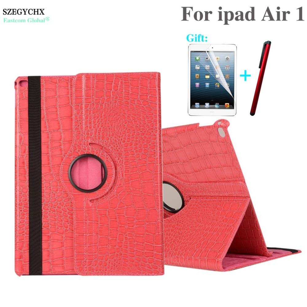 Tablet Case For iPad Air 1 model A1474 A1475 A1476 , SZEGYCHX 360 Rotation Crocodile PU Leather Protective Sleeve Rotary Cover