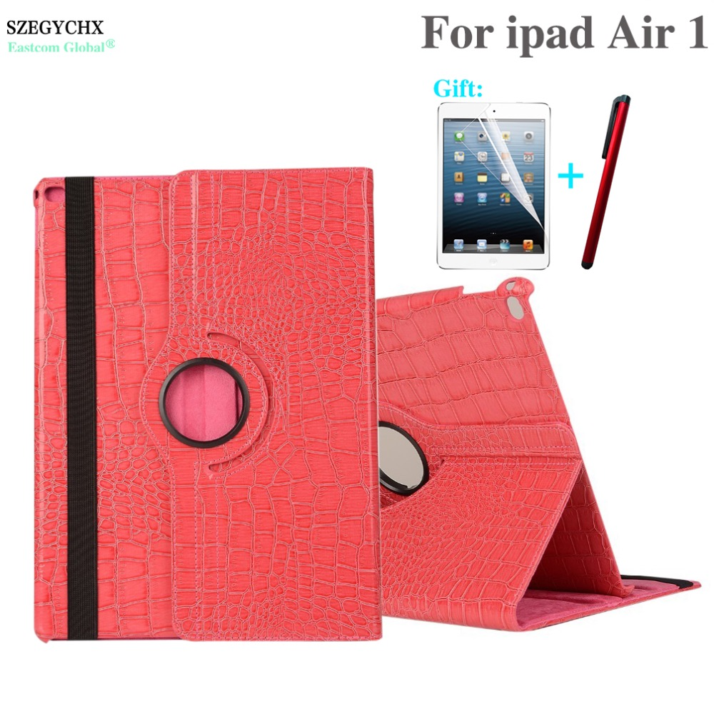 купить Tablet Case For iPad Air 1 model A1474 A1475 A1476 , SZEGYCHX 360 Rotation Crocodile PU Leather Protective Sleeve Rotary Cover недорого