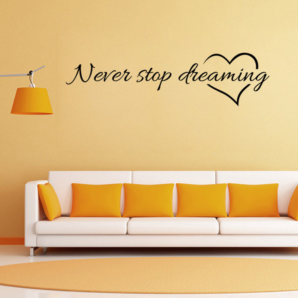 Never Stop Dreaming Quote Wall Sticker Removable Art Mural PVC ...