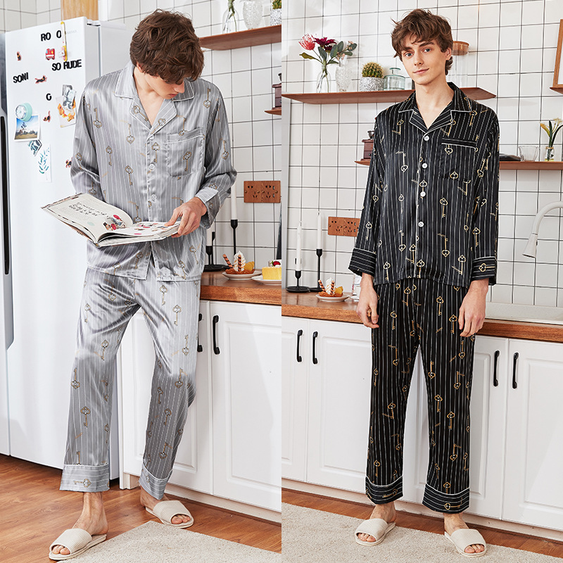 Men's Homewear New Long Sleeved Nightgown Ice Thin Silk Satin Leisure Household Clothes Students Suit Set Youth Sleepwear J065