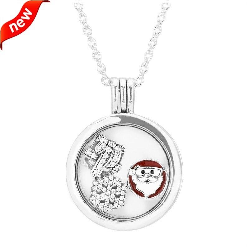 Стерлингового-серебро-ювелирные изделия Ожерелья для мужчин для Для женщин среднего плавающей медальон серебряный кулон Цепочки и ожерель...