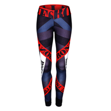 Women 3D Letter Print Sexy Fitness Leggings Slim Skinny Workout Leggins High Waist Active Elastic Sporting Leegings Trousers