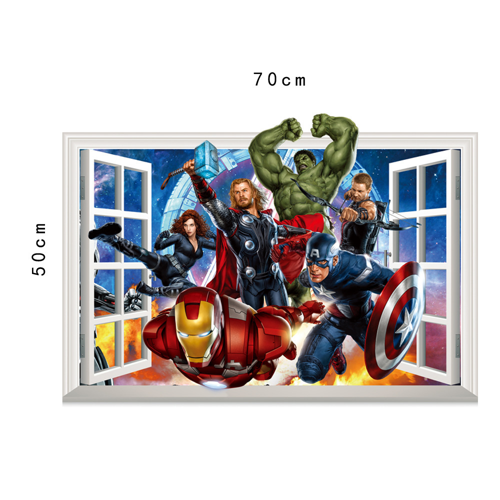 HTB1ui0IgtfJ8KJjy0Feq6xKEXXaT - 3D movie Marvel hero Hulk iron Man For Kids Room