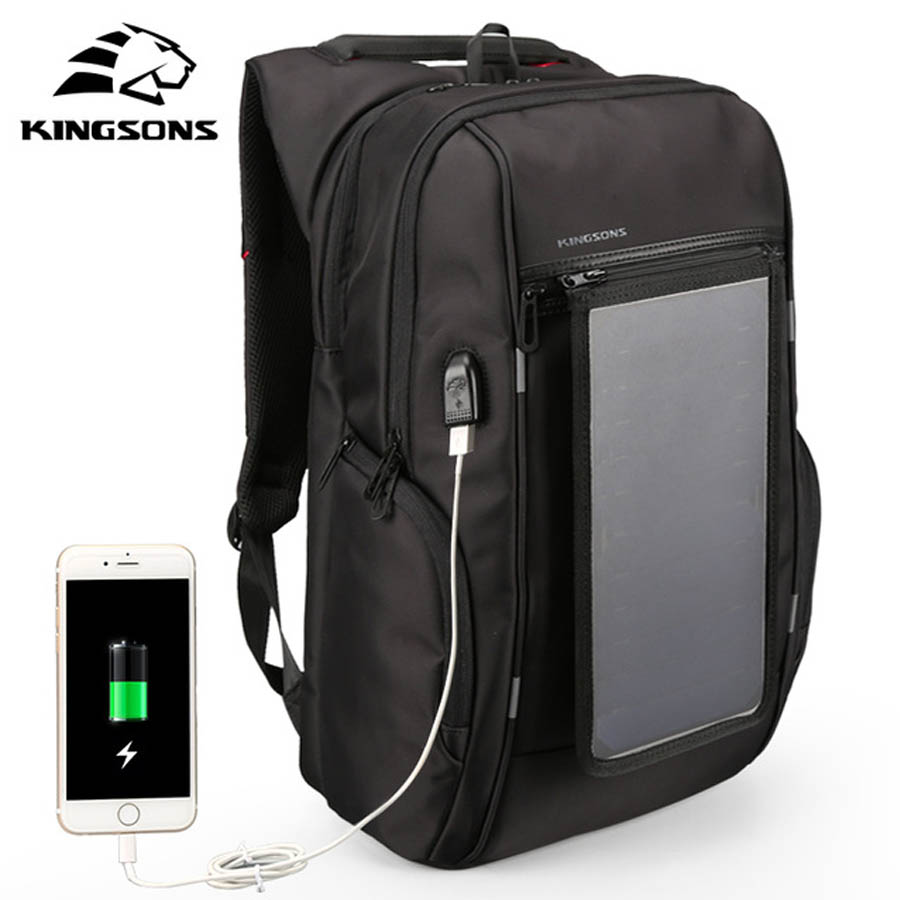 Kingsons 15Laptop Backpack External USB Charge Backpacks Solar battery charging Anti-theft Waterproof Bags for Men Women black sopamey usb charge men anti theft travel backpack 16 inch laptop backpacks for male waterproof school backpacks bags wholesale