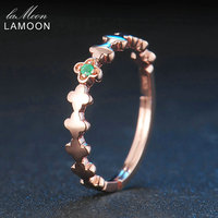 LAMOON 2017 New Romantic Real Natural Round Green Emerald Clover S925 Rings 925 Sterling Silver Jewellry
