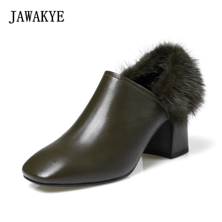 Fall winter army green black fur decor lady pumps chunky high heels shoes women square toe ankle boots for women Zapatos mujer