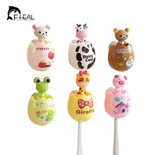FHEAL Cute Egg Shape Cartoon Animal Toothbrush Holder Creative Double Sucker Toothbrush Cases Cover Bathroom Accessories Sets