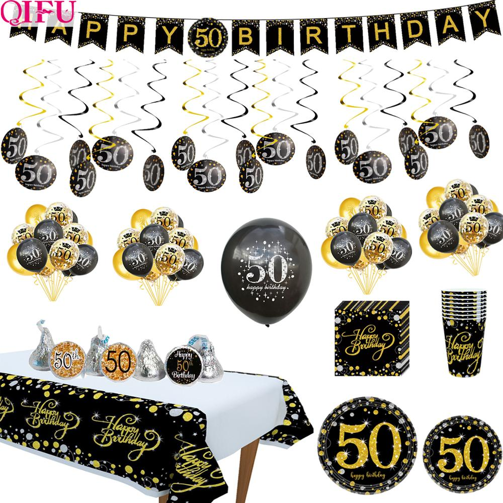 Cheers To 50 Years Black Golden Balloon Birthday 50 Years Birthday Party Decorations Adult Supplies Wedding Anniversary 50 Years