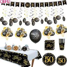 Cheers to 50 years Black Golden Balloon birthday Birthday Party Decorations Adult Supplies Wedding Anniversary Years