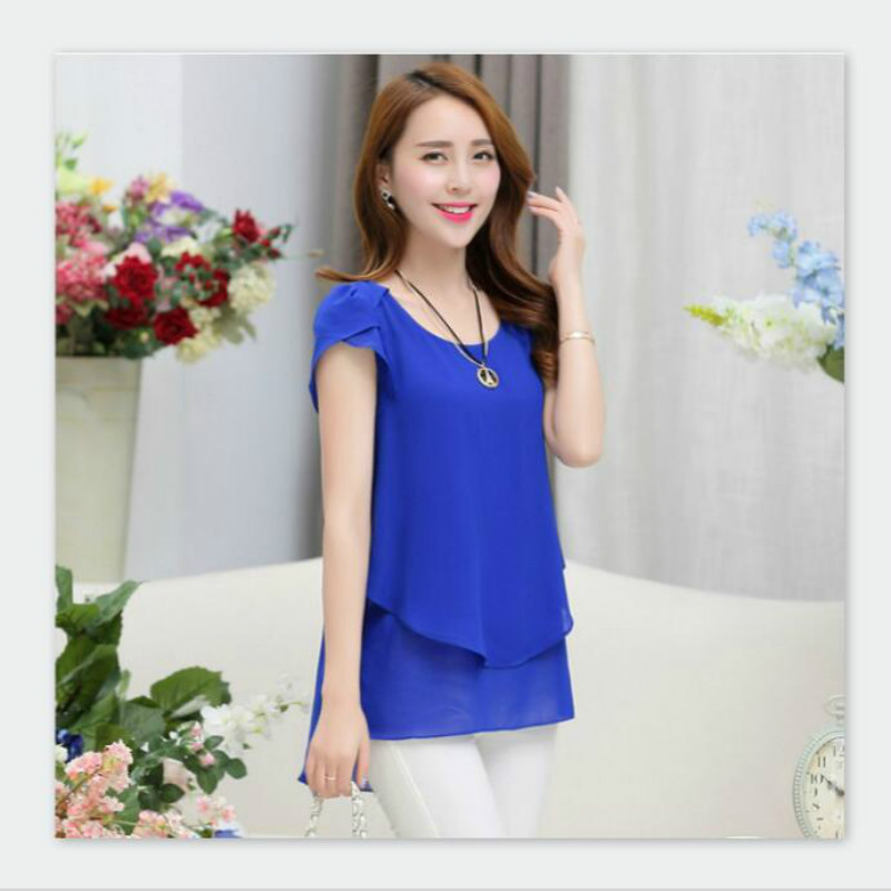 New Fashion 2018 Chiffon Blouse Petal Sleeve Short Sleeve Round Neck Loose Plus Sizes Shirts Women Tops M-5XL Solid Female Blaus