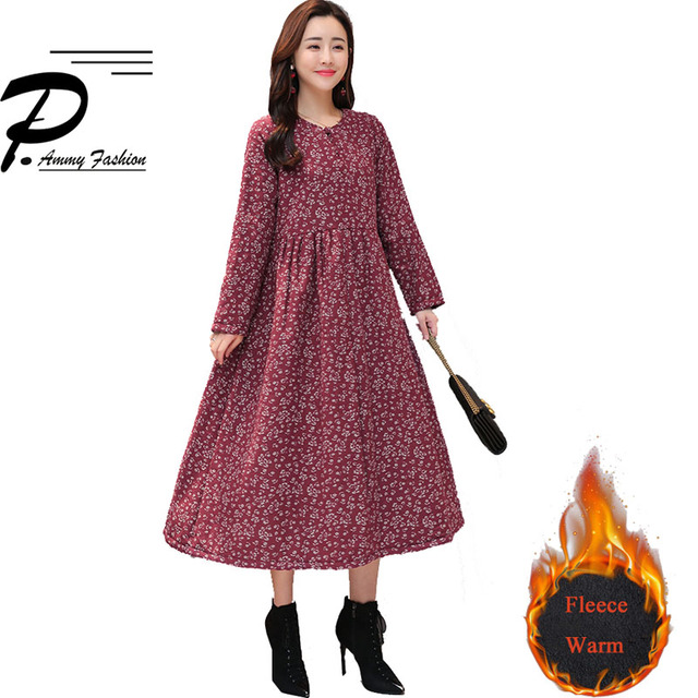 US $25.43 47% OFF|Fleece Lined Warm Retro Plus Size Floral Print Mid Long  Dresses 2018 Women Winter V Neck Long Sleeve Vintage Jumper Tunic Dress-in  ...