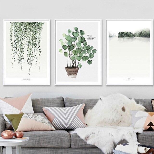 Moderne Grün Tropische Pflanze Blätter Leinwand Kunstdruck Poster ...
