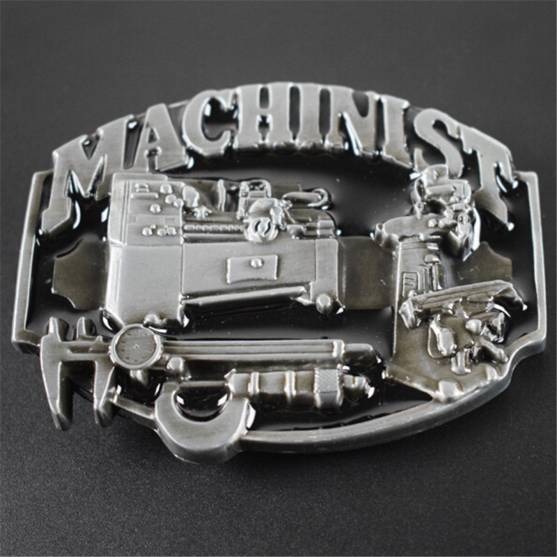 belt buckle 8.2cm MACHINIST workers black pattern metal pin buckles fashion trousers / pants Diy belts Christmas gift