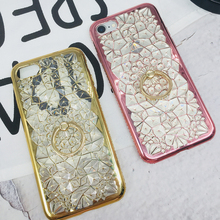 Axbety Glitter Case coque sFor iPhone 6s 6 Plus Case Luxury Gold Diamond Flower Cover For iPhone 6s Plus Crystal Ring Cover