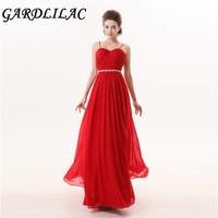 Elegant A Line Spaghetti Straps Bridesmaid Dresses Red Chiffon Simple Cheap Wedding Party Dress 2017 Robe