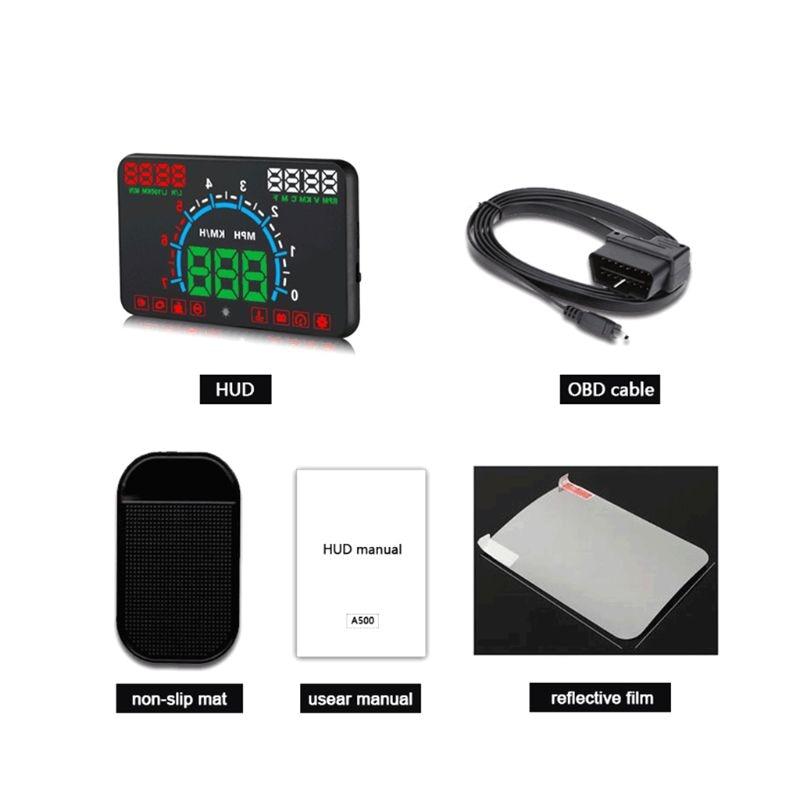 "E350 5.8"" Screen HUD Car Head Up Display Engine Fault Fuel Alarm Speedometer"