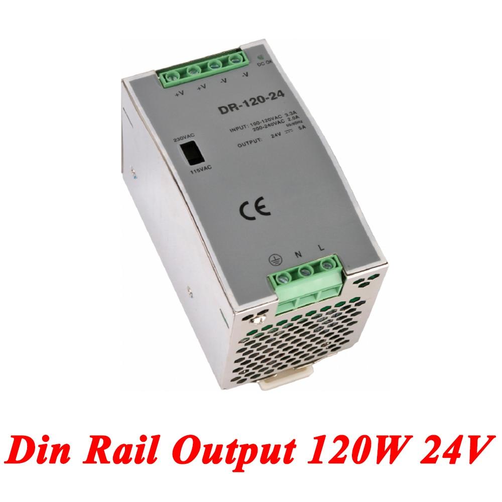 DR-120 Din Rail Power Supply 120W 24V 5A,Switching Power Supply AC 110v/220v Transformer To DC 24v,ac dc converter mdr 100 din rail power supply 100w 15v 6 6a switching power supply ac 110v 220v transformer to dc 15v ac dc converter