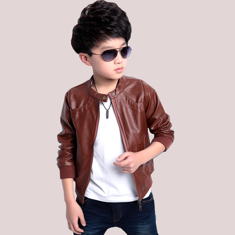 afacb0e4c0d1 New 2018 Boys Casual Jacket Long Sleeve High Quality Faux Leather ...