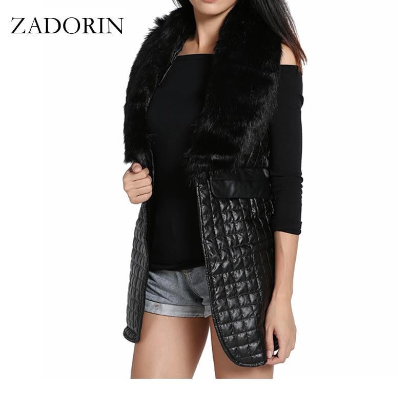 S 3XL Autumn Winter Sleeveless Blazer Black Leather Long Vest With Faux Fox Fur Collar Gilet Femme Cardigan Coat Women Chalecos