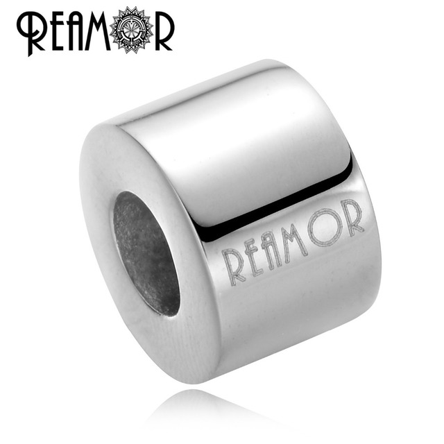 REAMOR 5pcs Customize Logo 316l Stainless Steel European Big Hole Spacer Beads Charm For DIY Bracelet Jewelry Making Accessories