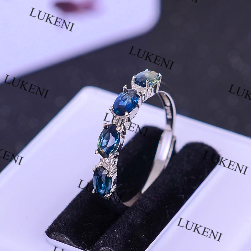 LUKENI Hot Sale Genuine Sapphire Ring Silver 925 Natural Blue Star Sapphire Stone Rings