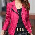 Новая Мода Женщины Марка Искусственного Мягкой Кожи Куртки ПУ Молнии С Длинным Рукавом Мотоцикл Пальто