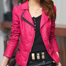 New Fashion Women Brand Faux Soft Leather Jackets PU Zippers Long Sleeve Motorcycle Coat