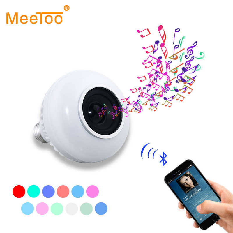 E27 Bluetooth Music Lamp Smart RGB RGBW Wireless Speaker Bulb 220V 12W LED Light Audio Player Dimmable 24 Keys Remote Controller