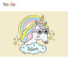 Yeele Unicorn Birthday Believe Rainbow Bedroom Decor Photography Backdrop Personalized Photographic Backgrounds For Photo Studio