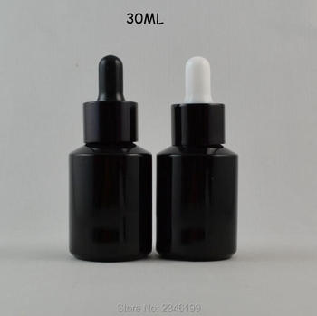 30ML 20pcs/lot Shiny Black Glass Cosmetic Essential Oil Bottle, DIY Empty Glass Liquid Dropper Package, Cosmetic Containers