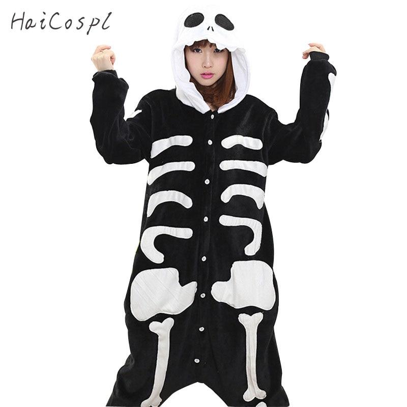 Skeleton Pajama Onesie Adult Women Cosplay Costume Flannel Warm Soft Black White Night Sleepwear Halloween Party Female Kigurumi halloween cosplay skeleton style costume black