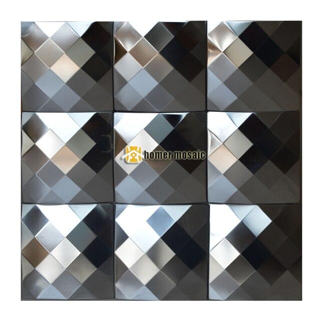 25 cara diamante 3D plata acero inoxidable metal mosaico azulejo ...