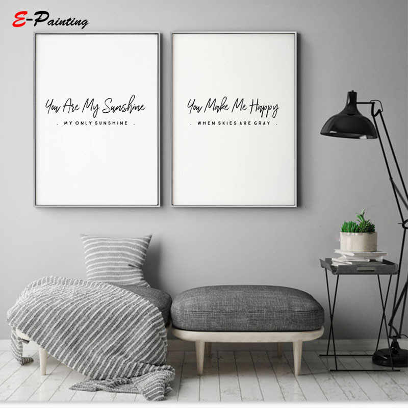 Nordic Canvas Art Painting Wall Art You Are My Sunshine Poster Text Print Picture Living Room Modern Decor Christmas Gift