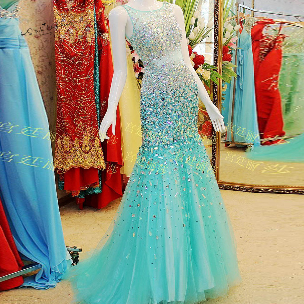 Red Turquoise Formal Long Evening Gowns with Crystals Sparky Mermaid Prom Dresses to Party Sexy Tank