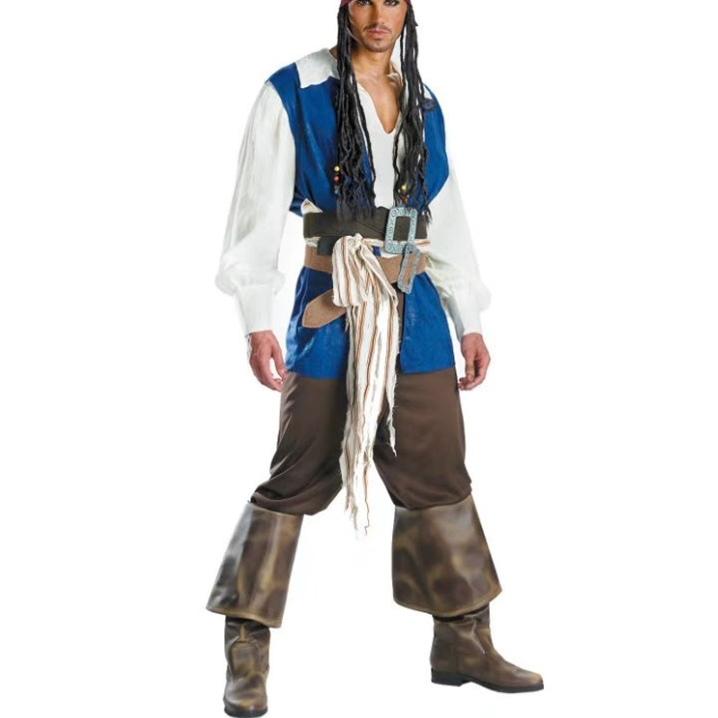 Mens pirate clothes Captain Set Pirates of The Caribbean Cosplay Uniforms Halloween Costumes for Men 2017