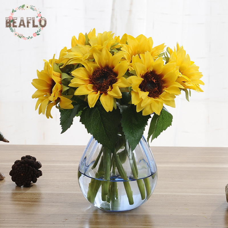 6pcs Bunch Yellow Sunflower Bouquet Artificial Flower Silk Fake Plant For Wedding Home Party Decoration