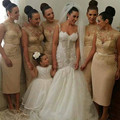 Sexy Champagne Gold Bridesmaid Dresses 2017 High Neck Sequin Appliques Tea Length Wedding Party Dress Maid of Honor FQ16
