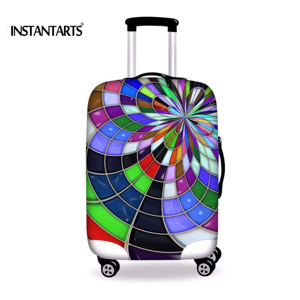INSTANTARTS Elastic Women Travel Bag Cases Protective Cover For 18-30 Inch Trolley Suitcase Luggage Waterproof Dust Rain Cover