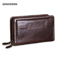 GENODERN Vintage Men S Wallets With Phone Bag Genuine Leather Clutch Wallet Double Zipper Male Purses