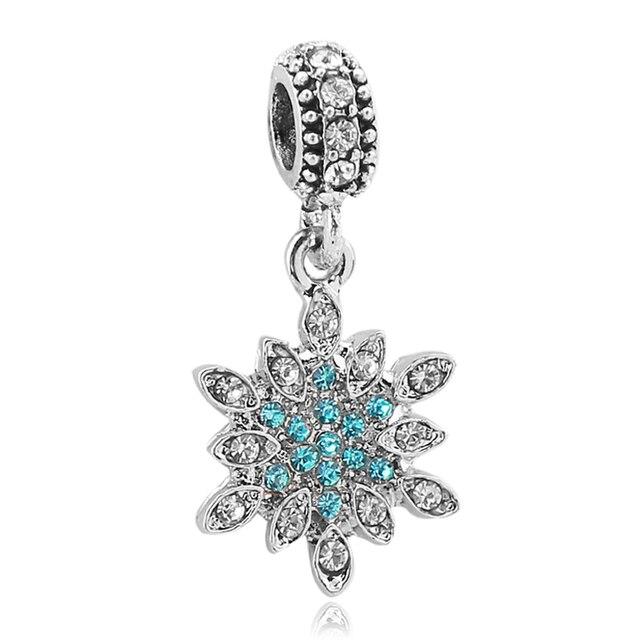 4728bf3ce Free Shipping European 1pc christmas DIY Silver Plated Snowflake Charms  Dangle Bead fit pulseira Pandora Charm Bracelets Jewelry