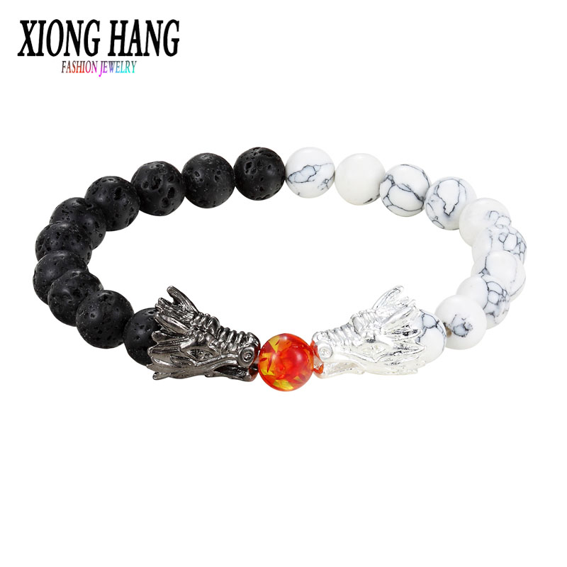 XiongHang Fashion Black And White Beads Bracelet Natural Stone Black lava Bead Two Dragon Play One Ball Male Female Jewellery