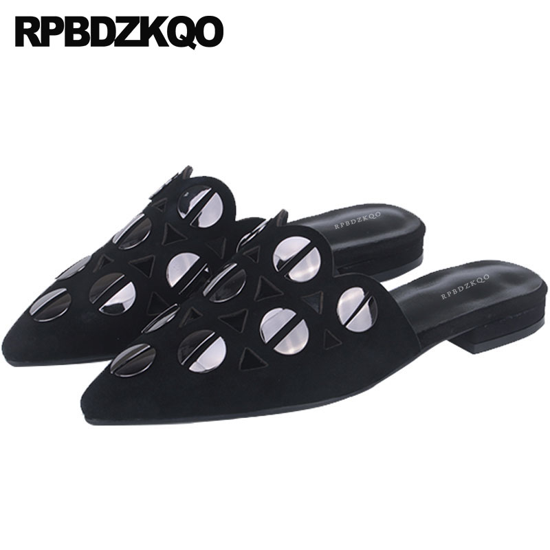 Mules De Estrecha Gamuza Cuero Negro Zapatillas Flats Hermosas Hacia Genuino Punta Metal Fuera Damas Sandalias Negro Ahueca blanco China Transpirable wqSpf7X