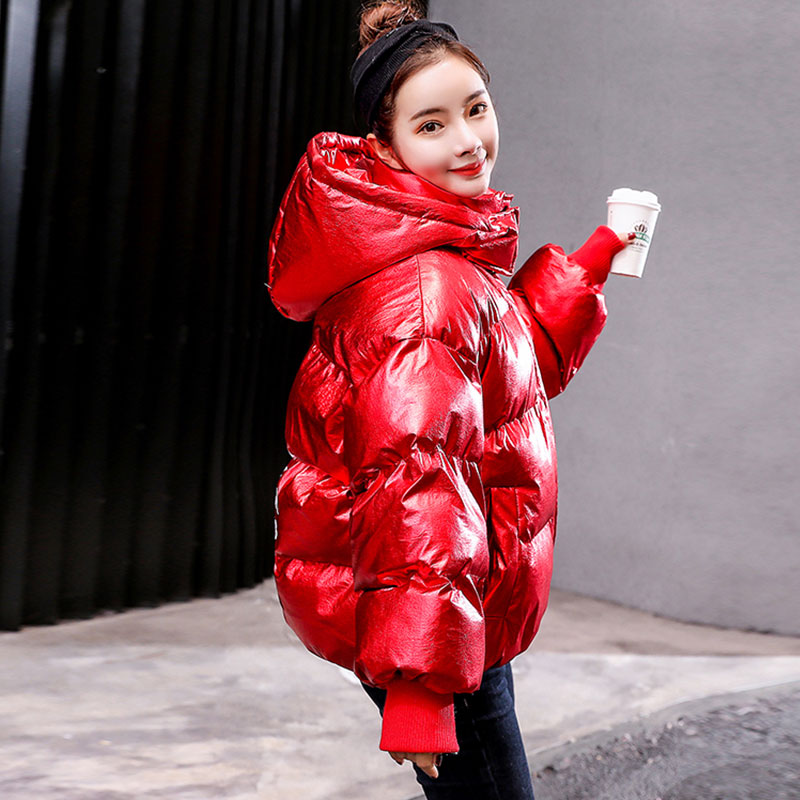 Capuchon Manteau Femmes Coton Court Veste Grande Au Casual Streetwear Brillant Solide Taille Vers Bas 2019 Purple red Le Chaud À 880 Garder D'hiver pink U8zYw5