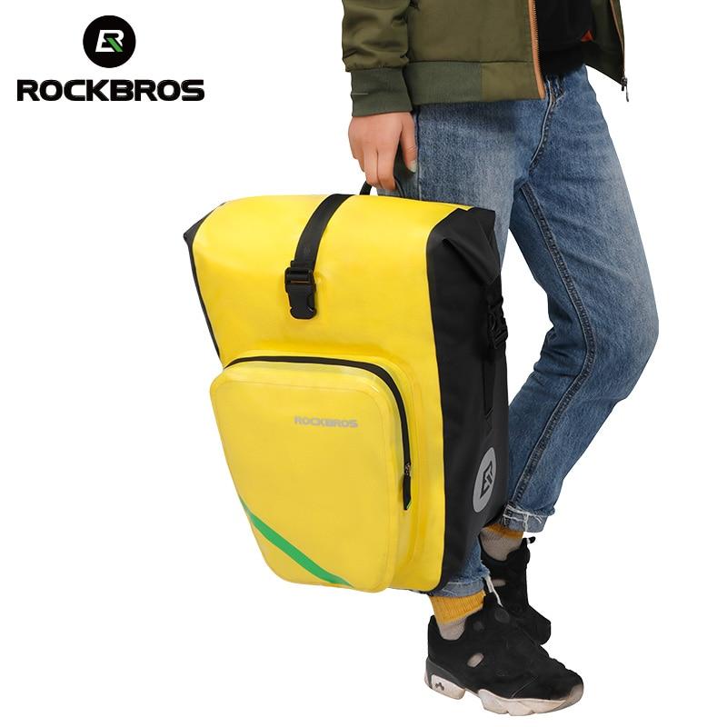 все цены на ROCKBROS Waterproof 27L Bicycle Bag Rear Rack Tail Seat Bag Portable Cycling MTB Bike Bag Pannier Trunk Backpack Bike Accessory