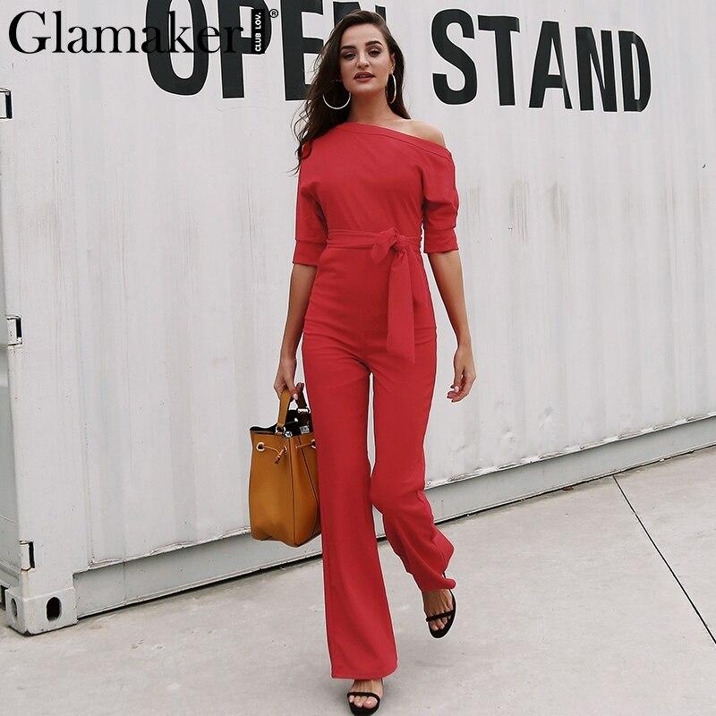 Glamaker Cold Shoulder Bandage Jumpsuit Elegant Slim Brief Spring Jumpsuit Romper Work Office Business Long Pants Playsuit 2018